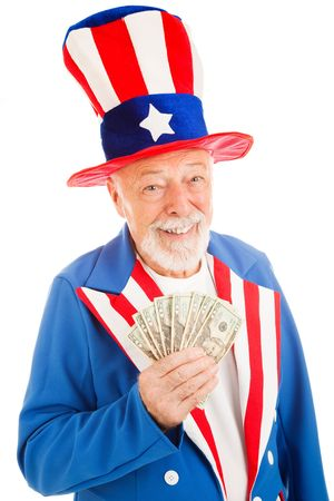 stereotype: Realistic Uncle Sam smiling and holding a hand full of cash.  Isolated on white.