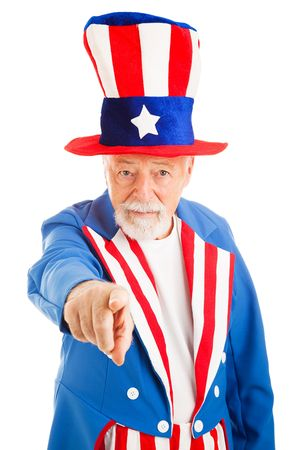 Realistic American Uncle Sam pointing at the camera in the classic pose.  Isolated on white. Stock Photo - 4940590