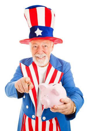 income tax: Realistic Uncle Sam holding a piggy bank and asking for donations.  Isolated on white.   Stock Photo