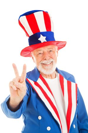sam: American icon Uncle Sam giving the peace sign.  Isolated.