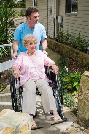 Disabled senior woman nervous about entering a nursing home. Stock Photo - 5023120