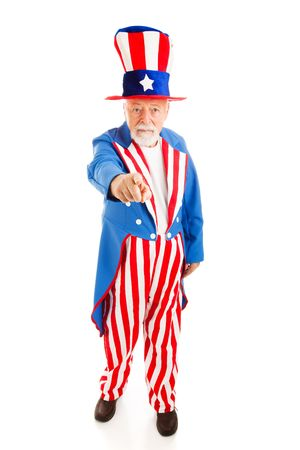 stereotype: Full body isolated view of American icon Uncle Sam in the classic I Want You pose.   Stock Photo