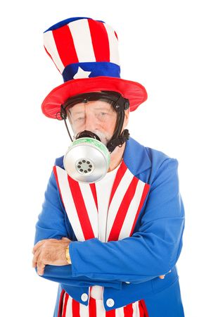 American icon Uncle Sam wearing a gas mask.  Metaphor for air pollution or chemical attack.