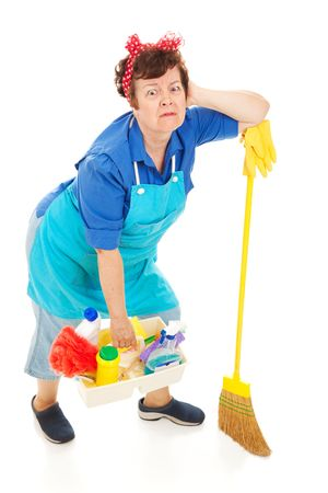 Humorous image of an exhausted, overworked cleaning lady.  Full body isolated on white.