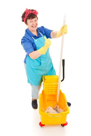 Happy, confident cleaning lady with her mop and bucket.  Isolated on white. photo