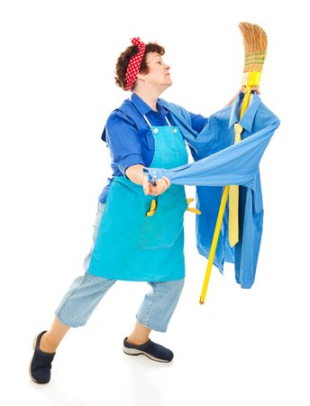 imagining: Lonely housewife or maid dancing with her broom, imagining it is a man.  Full body isolated on white.
