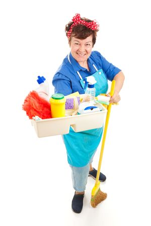 cleaning products: Friendly smiling maid holding a tray of cleaning products.  Full body isolated on white.