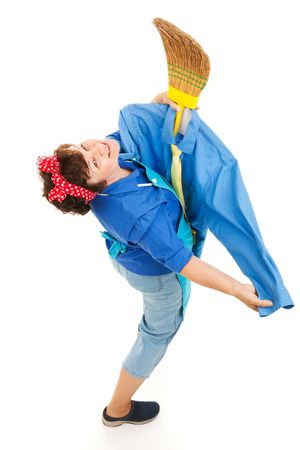homemaker: Lonely housekeeper has dressed her broom like a man and is dancing with it.  Full body isolated. Stock Photo
