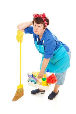 Cleaning lady unhappy and exhausted.  Full body isolated on white. photo