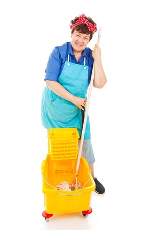 Friendly, smiling cleaning lady with her mop and bucket.  Full body isolated. photo