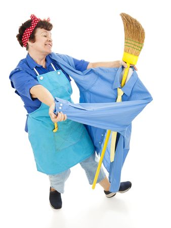 Lonely maid dancing with a broom dressed as a man.  Full body isolated.