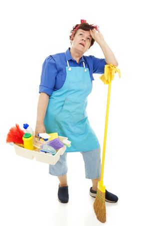 miserable: Tired, miserable housekeeper.  Full body isolated on white.