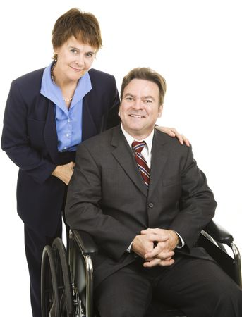 Business partners, male and female.  He is in a wheelchair.  Isolated on white. photo