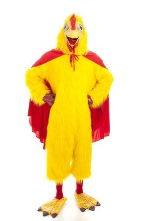 Man in a chicken suit with a cape, pretending to be a super hero.  Isolated on white.