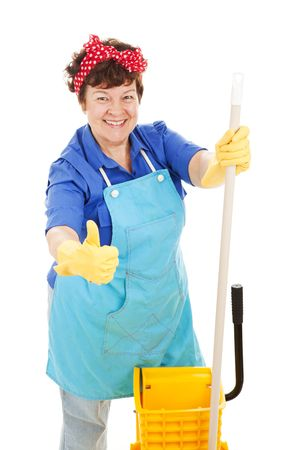 Maid holding her mop and giving a thumbs up for cleanliness.  Isolated on white. Standard-Bild