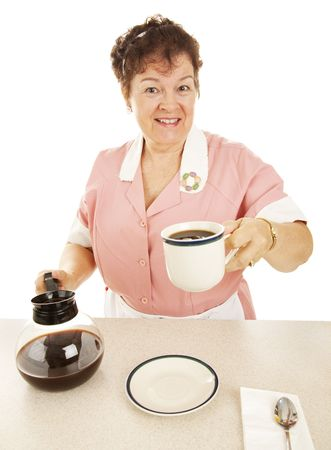Waitress in a diner offering a cup of coffee ro you.  Isolated on white. Stock Photo - 5562847