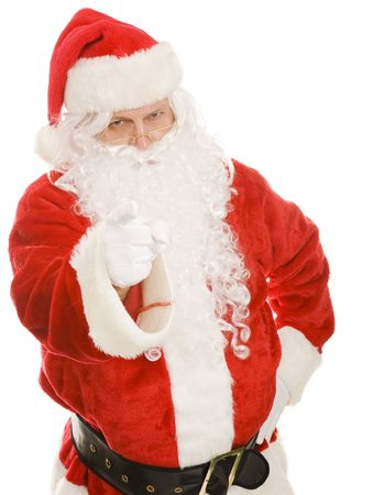Santa is pointing his finger at the camera and looking stern.  Isolated on white.
