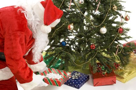 Santa Claus putting gifts under the Christmas tree.  White background. photo