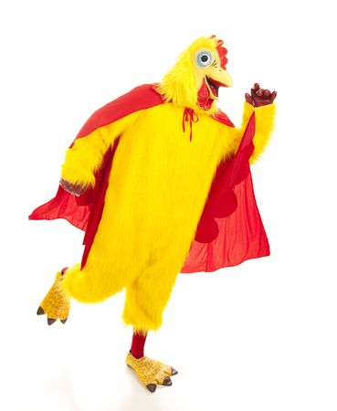 Super chicken takes off to go fight crime.  Full body isolated on white. Stock Photo - 5619478