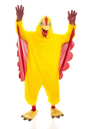 Man in a chicken suit with his hands up like hes cheering.  Full body isolated on white.
