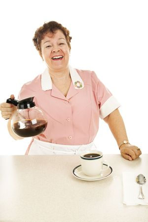 Friendly waitress laughs and chats as she serves coffee.  Isolated on white. Stock Photo - 5662568