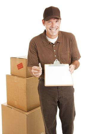 Handsome delivery man holding a clipboard toward the camera.  Blank space ready for your text.  Isolated.