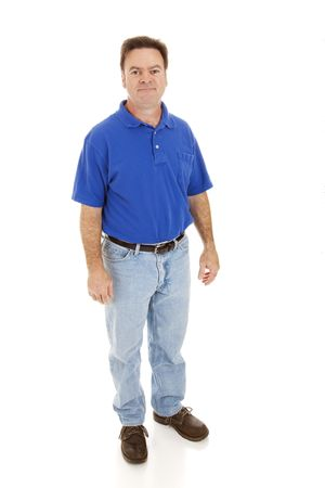 average: Average, casually dressed man in his forties.  Full body isolated on white. Stock Photo
