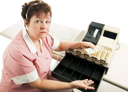 Worried cashier with a nearly empty cash register.  White background.