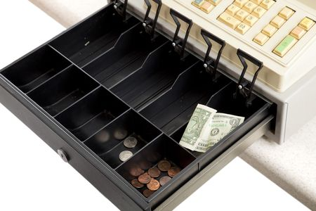 drawers: Almost empty cash register.  Symbolic of hard economic times.