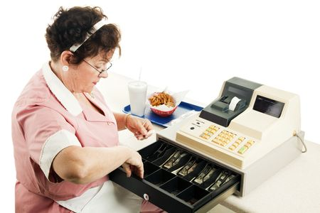 Cashier at a fast food restaurant, making change from her cash register.  White background.