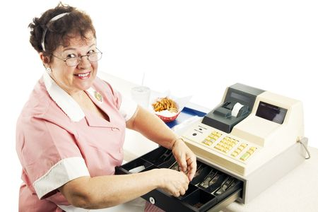 Cheerful cashier in a fast food restaurant, making change.  White background.