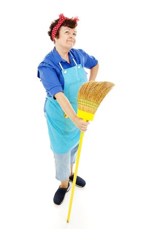 imagines: Retro looking housekeeper looks into the distance and imagines a better life.  Isolated on white. Stock Photo