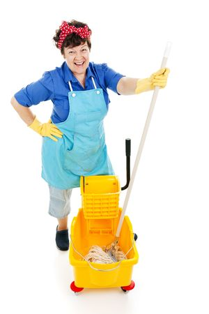Friendly, happy maid gets ready to mop a floor.  Isolated on white. Stock Photo