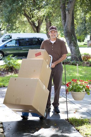 mover: Delivery man or mover bringing boxes up your front walk.   Stock Photo