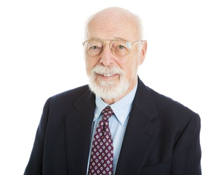 Portrait of handsome senior businessman isolated on white background.