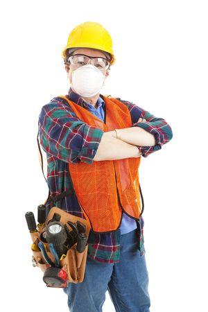 完全な安全装備を着用の女性建設労働者。 白で隔離されます。
