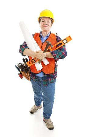 Female contractor with her tools, ready to go to work on a construction project.  Isolated. Banco de Imagens