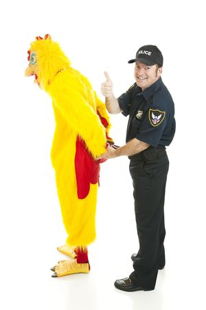 disguises: Police officer gives thumbsup.  He has just captured a suspect in a chicken suit.  Isolated on white. Stock Photo