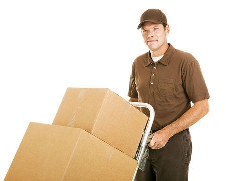 dolly: Bel movimento uomo si muove una pila di caselle sul suo carrello.  Isolated on white.