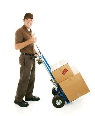 mover: Mover or delivery man with his dolly, giving thumbs up sign.  Isolated on white.