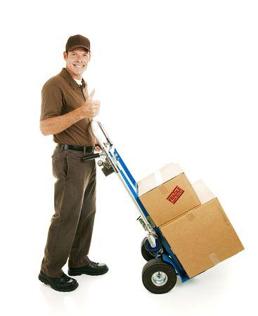 dolly: Uomo del motore o di consegna con il suo carrello, dando il pollice in alto segno.  Isolated on white.