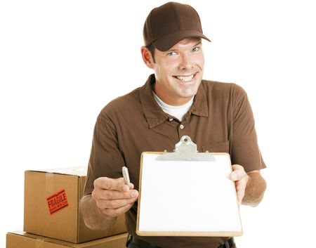 Handsome delivery man or mover waiting for your signature.  Isolated on white. photo