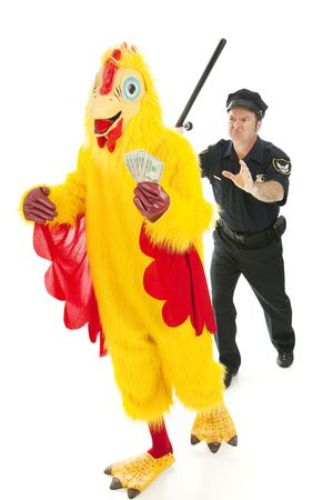Chicken man holding stolen cash and running from a police officer.  Isolated on white.