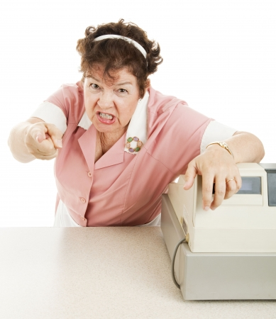 mean: Mean, angry cashier in a school lunchroom or cafeteria.  White background. Stock Photo