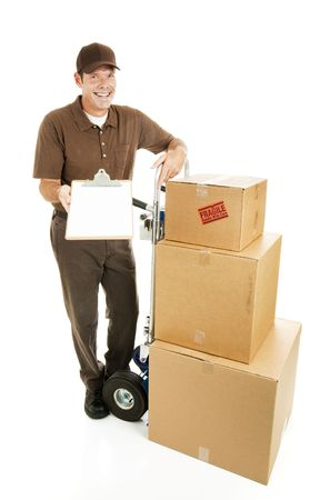require: Mover or delivery man with a load of packages that require a signature.  Full body isolated on white.