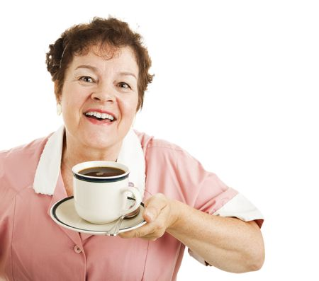 Waitress inhaling the aroma from a delicious cup of hot coffee.  Isolated on white with copyspace. Stock Photo - 6337112