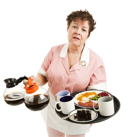 cafeteria tray: Tired, overworked waitress trying to carry too many things. Isolated on white.