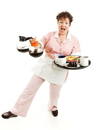 Overworked waitress tries to keep from falling over with her tray and coffee pots.  Full body isolated. Stock Photo - 6337140