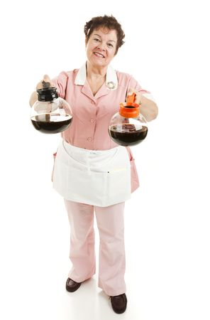 Waitress serving a choice of regular or decaffeinated coffee.  Full body isolated. Stock Photo - 6337111
