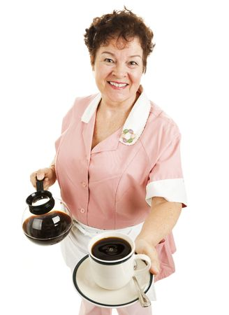 Friendly waitress serving a hot cup of coffee for you.  Isolated on white. Stock Photo - 6337110